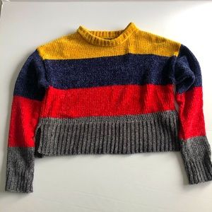 Cropped Color Block Sweater M